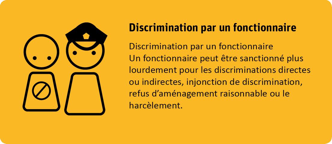 Définition de la discrimination par un fonctionnaire: Un fonctionnaire peut être sanctionné plus lourdement pour les discriminations directes ou indirectes, injonction de discrimination, refus d'aménagement raisonnable ou le harcèlement.
