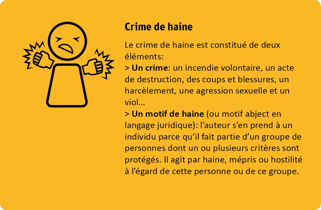 Le crime de haine est constitué de deux éléments: premièrement un crime, par exemple un incendie volontaire, un acte de destruction, des coups et blessures, un harcèlement, une agression sexuelle ou un viol.. Deuxièmement un motif de haine. L'auteur s'en prend à un individu parce qu'il fait partie d'un groupe de personnes dont un ou plusieurs critères sont protégés. Il agit de haine, mépris ou hostilité à l'égard de cette personne ou de ce groupe.