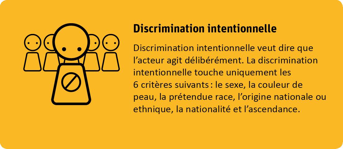 La discrimination intentionnelle veut dire que l'acteur agit délibérément. La discrimination intentionnelle touche uniquement les 6 critères suivants: le sexe, la couleur de peau, la prétendue race, l'origine nationale ou etnique, la nationalité et l'ascendance.
