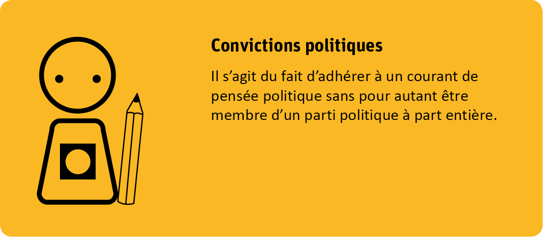 Le critère convictions politiques s'agit du fait d'adhérer à un courant de pensée politique sans pour autant être membre d'un parti politique à part entière.