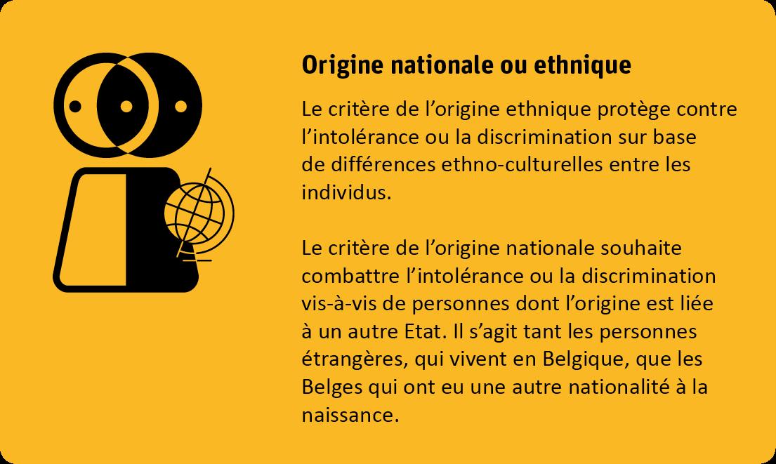 Le critère de l'ogine ethnique protège contre l'intolérence ou la discrimination sur base de différences ethno-culturelles entre les individus.  Le critère de l'orgine nationale souhaite combattre l'intolérence ou la discrimination vis-à-vis de personnes dont l'origine est liée à un autre Etat. Il s'agit tant les personnes étrangères, qui vivent en Belgique, que les Belges qui ont eu une autre nationalité à la naissance.