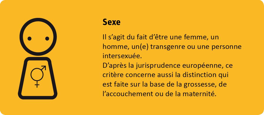 Le critère sexe protège contre discrimination sur base de son sexe, donc d'être une femme, un homme, un(e) transgenre ou une personne intersexuée. D'après la jurisprudence européenne, ce critère concerne aussi la distinction qui est faite sur la base de la grossesse, de l'accouchement ou de la maternité.